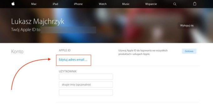 Edytuj adres e-mail Apple ID