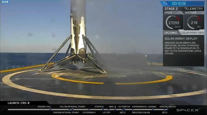 Falcon 9 SpaceX - udane lądowanie na platformie morskiej