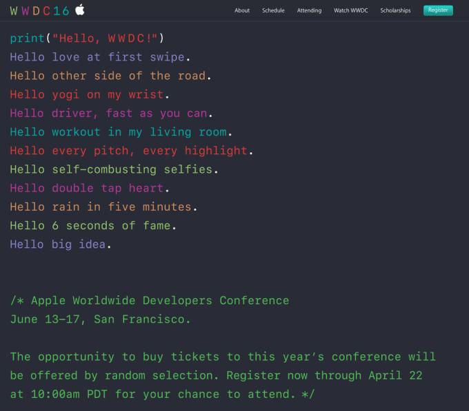 Strona internetowa WWDC16