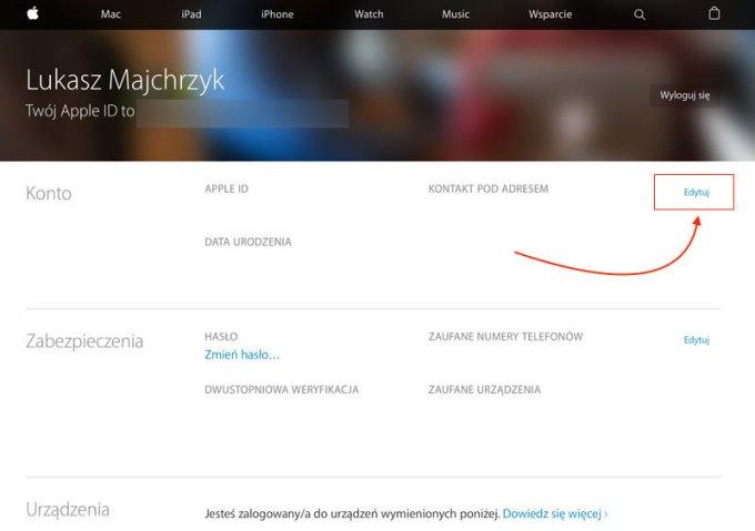 Edycja Apple ID na koncie Apple'a