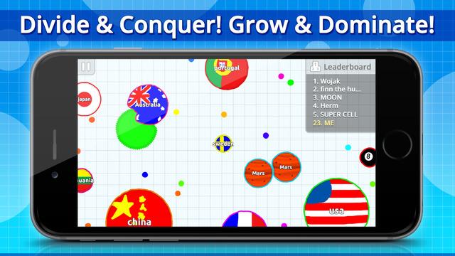 Screen gry mobilnej Agar.io - rozgrywka multiplayer z graczami na całym świecie
