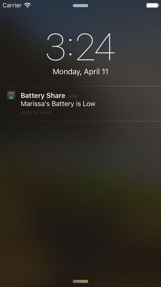Screen z aplikacji Battery Share (powiadomienie push)