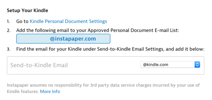 Wysyłanie artykułów z Instapaper do czytnika Kindle