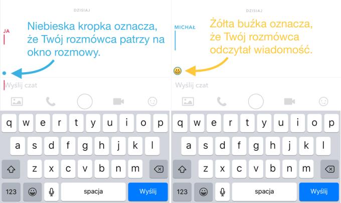 Niebieska kropka i emotikon w oknie rozmowy Snapchata - co oznaczają?