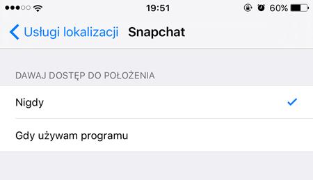 Wyłączenie usług lokalizacji dla aplikacji Snapchat