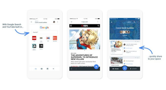 Screen z aplikacji mobilnej Google Spaces