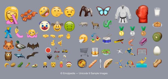 Przykłady Emoji z Unicode 9.0