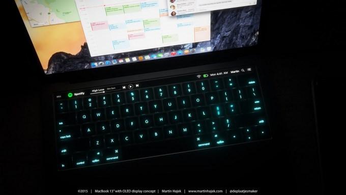 Panel dotykowy OLED w Macbooku (widok w nocy) - koncept Martin Hajek