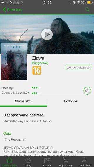 Screen z aplikacji CHILI - widok filmu (iOS)