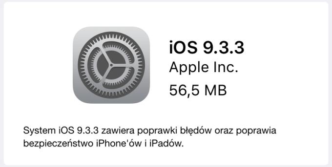 Uaktualnienie systemu iOS 9.3.3 w trybie OTA