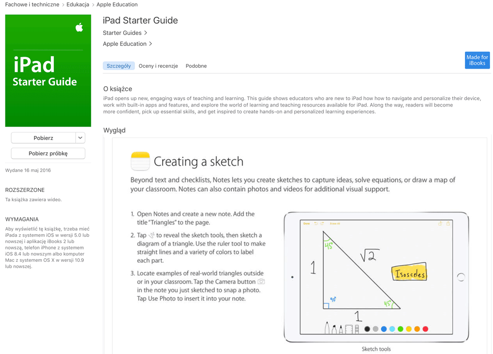iPad Starter Guide for iPad - screen z iBooks