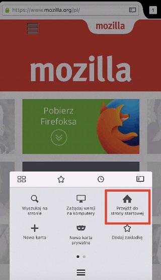 Firefox iOS - przycisk Strona domowa