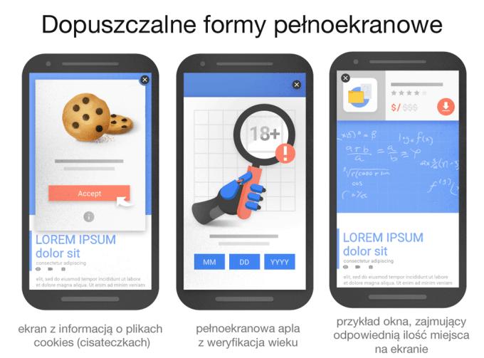 Przykłady dopuszczalnych form pełnoekranowych, niemających wpływu na pozycjonowanie w Google'u