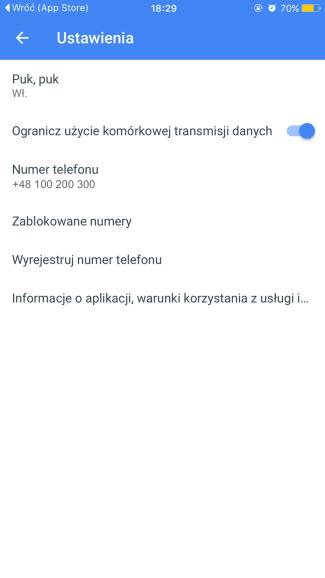 Ustawienia aplikacji mobilnej Duo