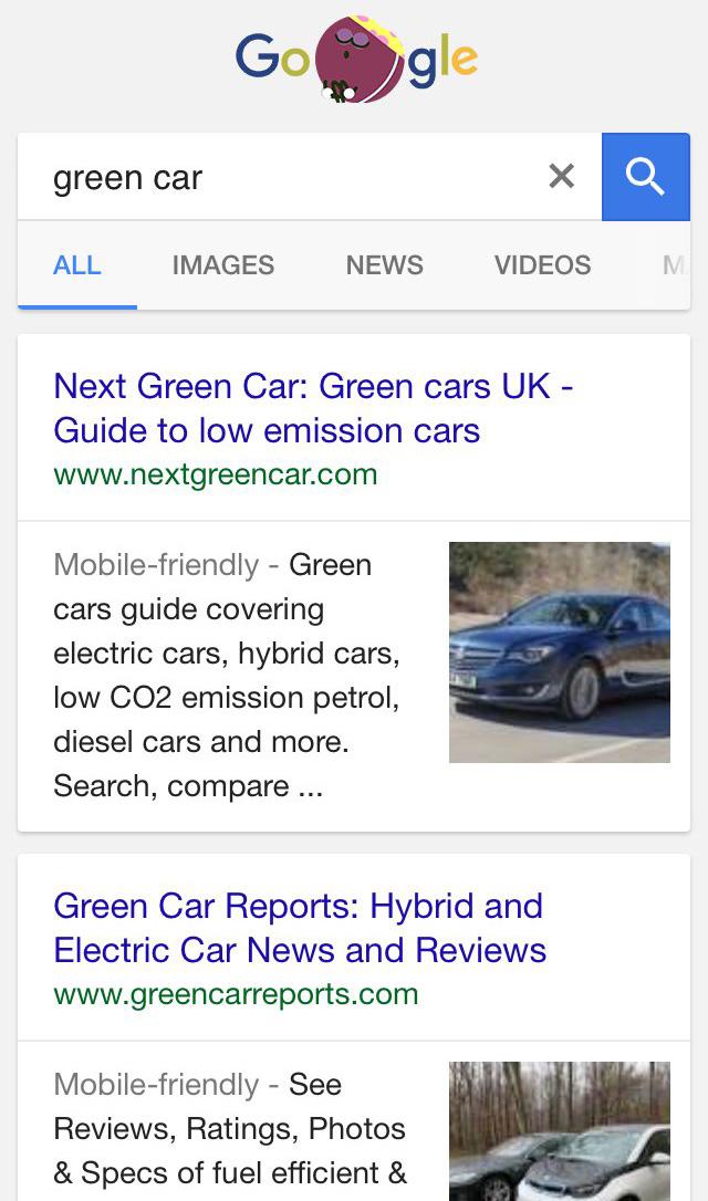 Mobilne wyniki wyszukiwania z miniaturami graficznymi (testowana opcja)