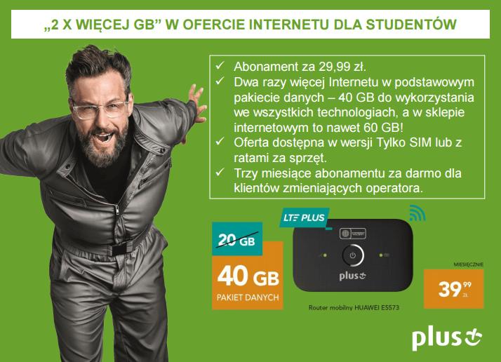 Internet LTE dla studentów w Plusie za 29 zł