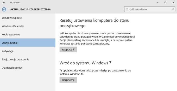 Przywracanie poprzedniej wersji systemu Windows