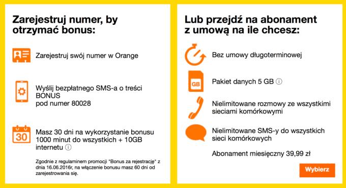 Szczegóły oferty specjalnej dla rejestrujących numer na kartę w Orange Polska