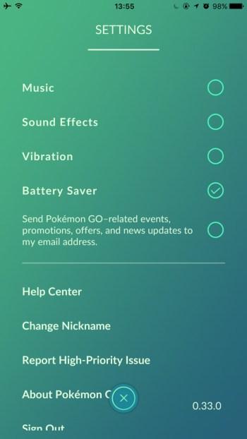 Ustawienie Battery Saver w grze Pokemon GO
