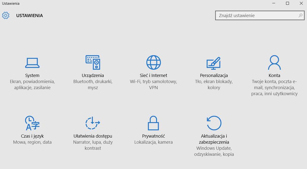 Ustawienia Windows 10