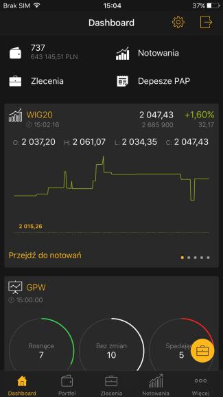 Screen aplikacji mobilnej Alior Giełda (iOS)