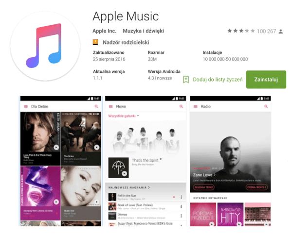Apple Music na Androida pobrane 10 mln razy