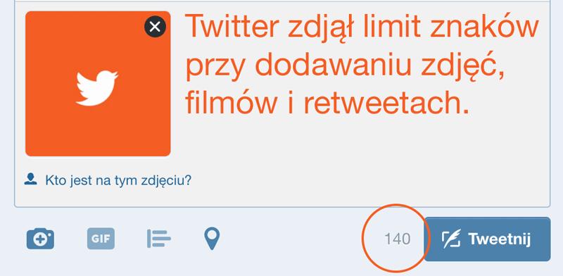 Brak limitu znaków na Twitterze przy dodawaniu mediów.