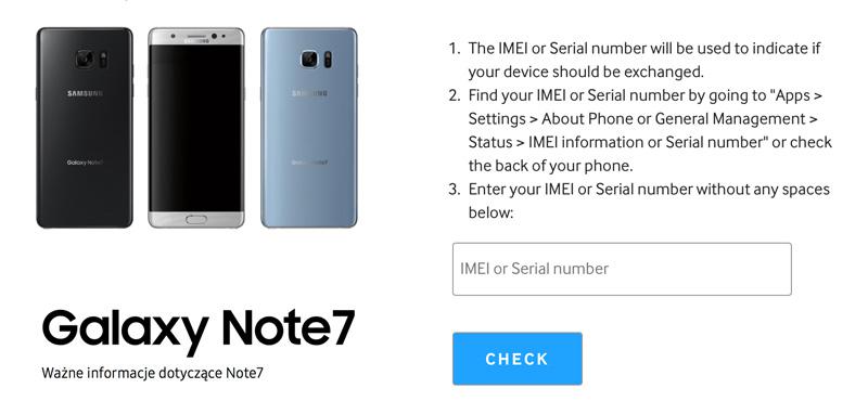 Narzędzie do sprawdzania numerów seryjnych uszkodzonych Galaxy Note7