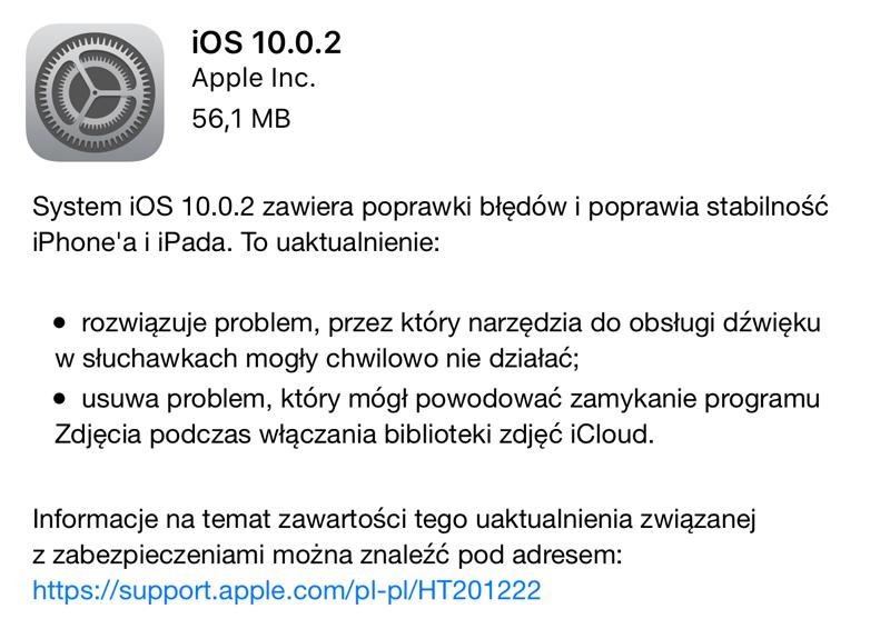 Co nowego w iOS 10.0.2?