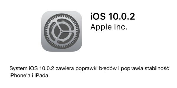Pobierz iOS 10.0.2 z poprawkami błędów