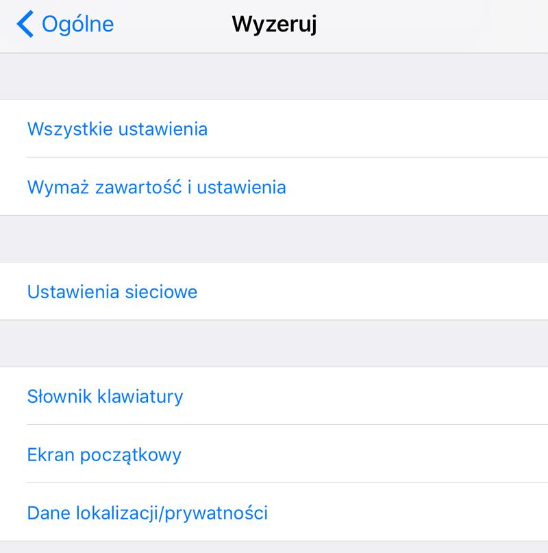 Wyzeruj Ustawienia iPhone'a