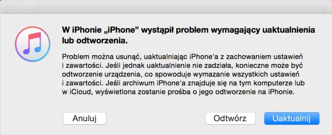 Komunikat programu iTunes - tryb odzyskiwania iPhone'a