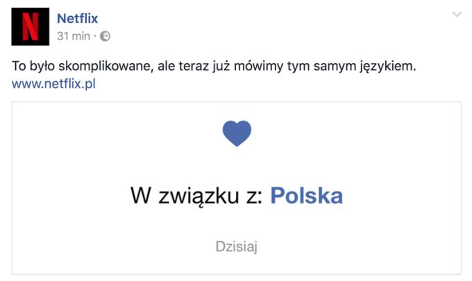 Wpis na Facebooku dotyczący polskiej wersji językowej strony internetowej Netflix