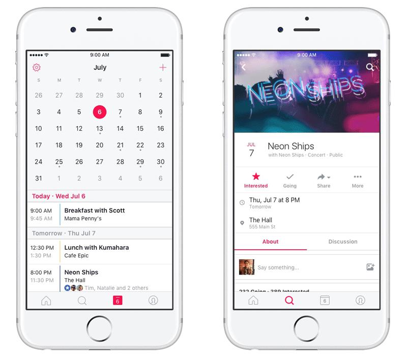 Screen aplikacji Events (Wydarzenia) od Facebooka - kalendarz