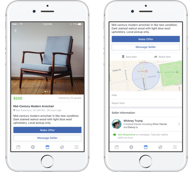 Facebook Marketplace - screen z aplikacji na iOS-a