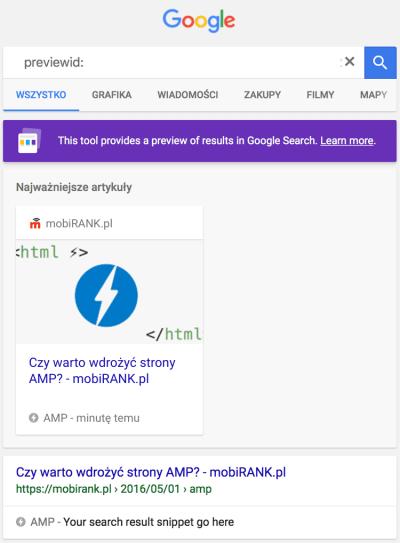 Podglad wyświetlania się strony AMP w wynikach wyszukiwania