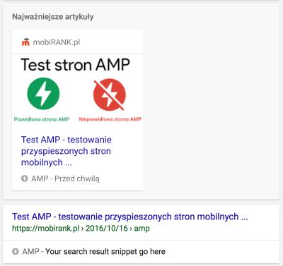 Podstrona AMP w wynikach wyszukiwania - podgląd
