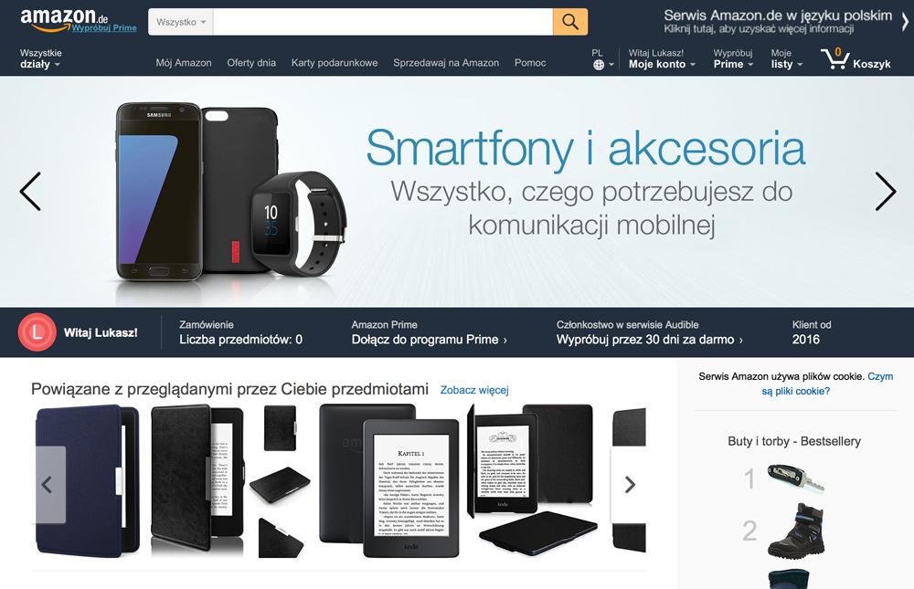 Spolszczona strona niemieckiej wersji serwisu Amazon.de