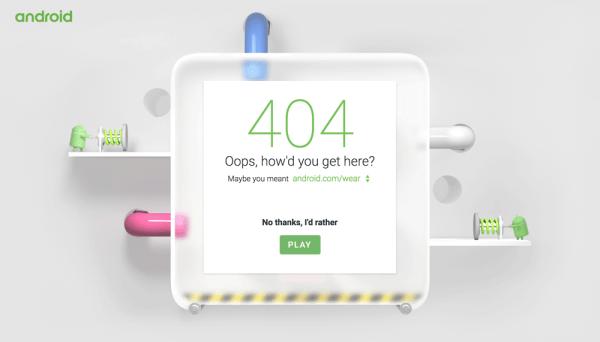 Zagraj w grę na stronie 404 serwisu Android.com