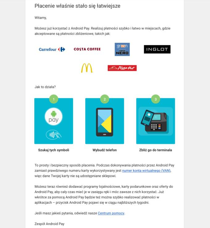E-mail potwierdzający aktywację usługi Android Pay (w języku polskim)