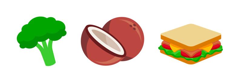 Emoji: brokuł, kokos, kanapka z Unicode 10