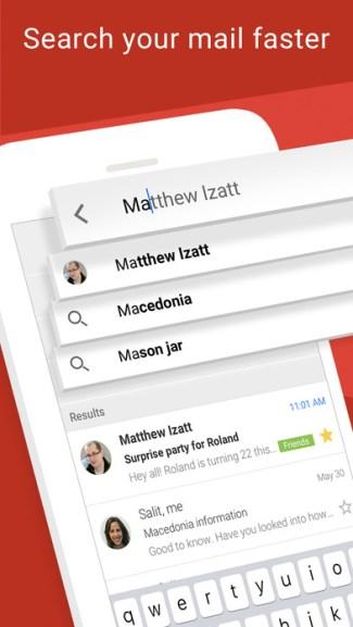 Sugestie w mobilnym Gmailu na iOS-a