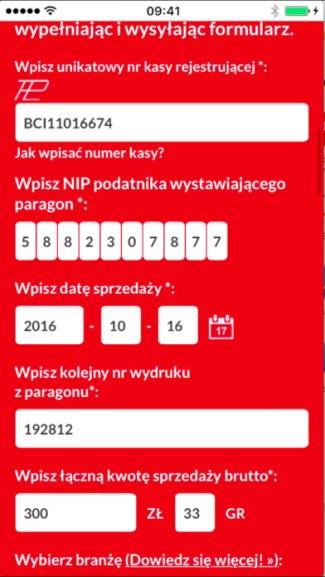 Screen aplikacji Loteria paragonowa