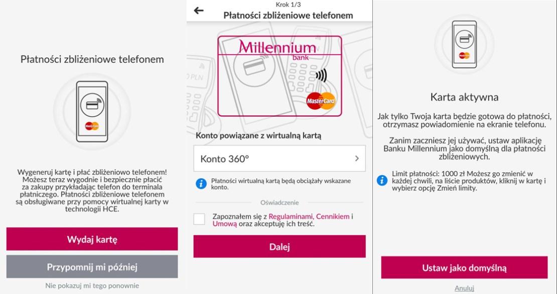 Aktywacja płatności HCE w aplikacji mobilnej Banku Millennium