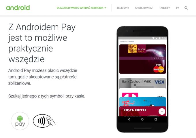 Polska strona internetowa Androida Pay