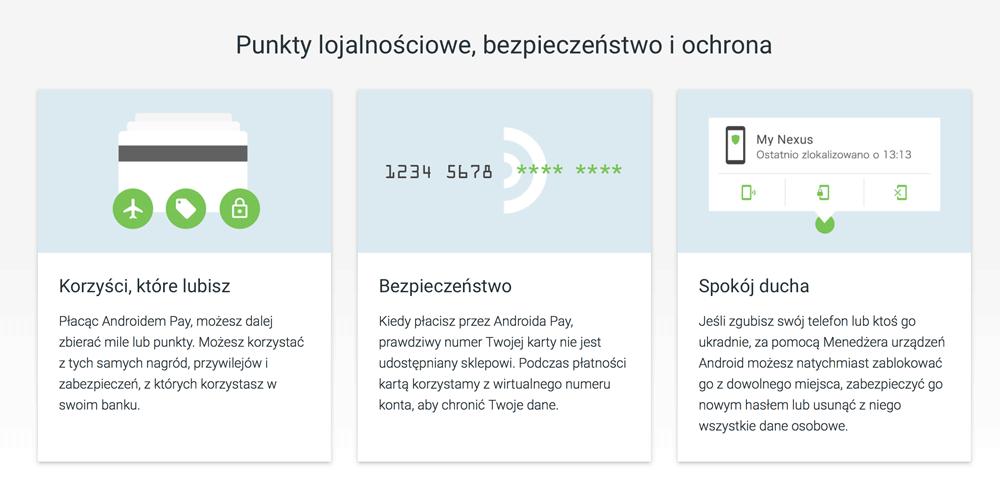 Punkty lojalnościowe, bezpieczeństwo i ochrona (Android Pay po polsku)