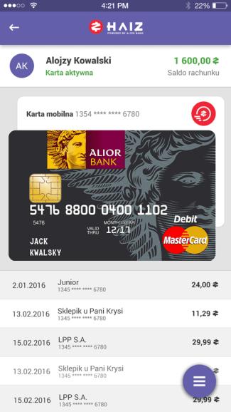 Screen z aplikacji mobilnej HAIZ Alior Banku