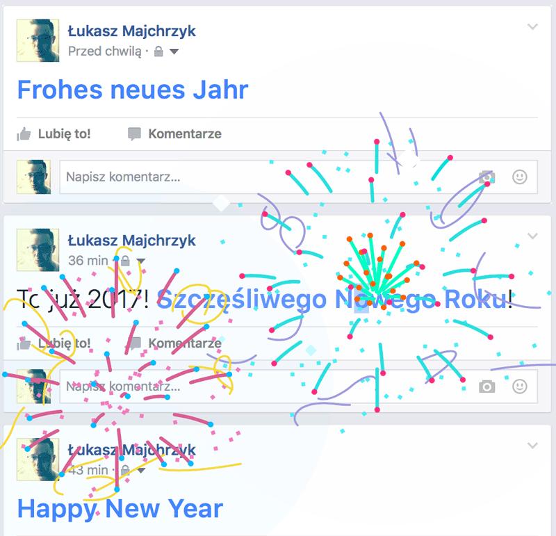 Animowane fajerwerki na Facebooku