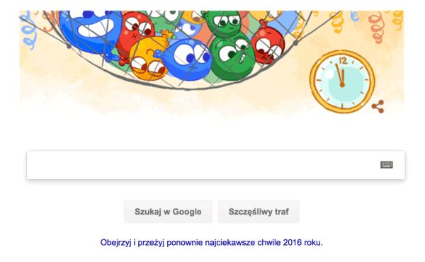 Google Doodle z okazji Sylwestra 2016 r.