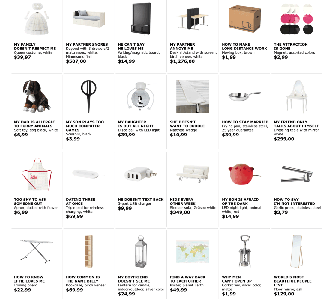 Ikea Retail Therapy - przykłady produktów i ich nowych nazw